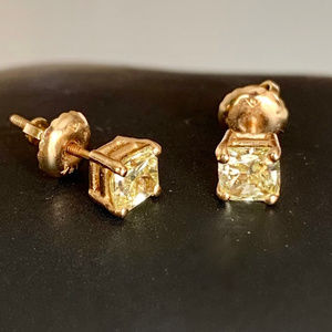 Yellow Canary Diamond Earrings with 14k Gold!